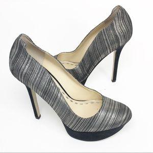 ENZO ANGIOLINI Silver Metallic Platform High Heels